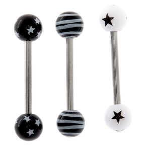 Silver 14G Stars & Stripes Barbell Tongue Rings - Black, 3 Pack,