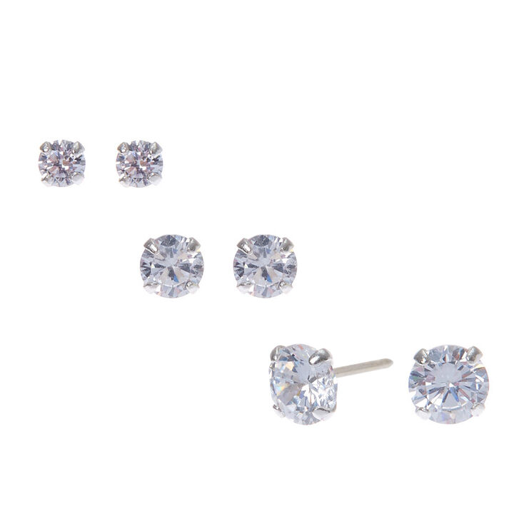 Sterling Silver Cubic Zirconia Round Stud Earrings - 3MM, 4MM, 5MM,