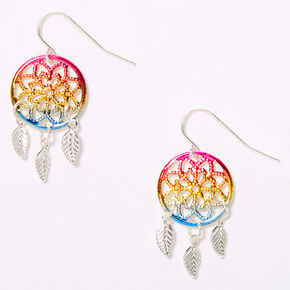 "Silver 1.5"" Rainbow Ombre Dreamcatcher Drop Earrings,"