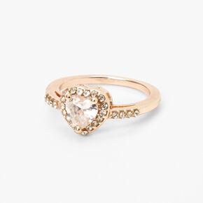 Bague cœur halo en zircon cubique d'imitation couleur doré rose,