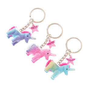 Best Friends Forever Fuzzy Unicorn Keychains - 3 Pack,
