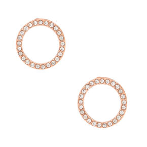 Rose Gold Tone Open Circle Earrings,