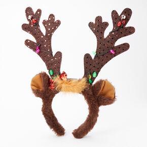 Light Up Reindeer Antlers Headband - Brown,