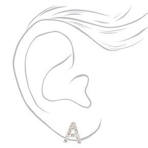 Silver Crystal Initial Stud Earrings - A,
