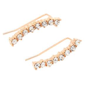 Rose Gold Embellished Curved Ear Crawler Earrings,