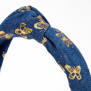Serre-tête noué en jean papillon métallique,