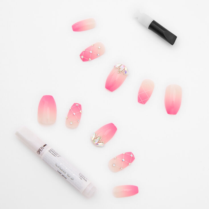 Bright Pink Ombre Crystal Square Faux Nail Set - 24 Pack,