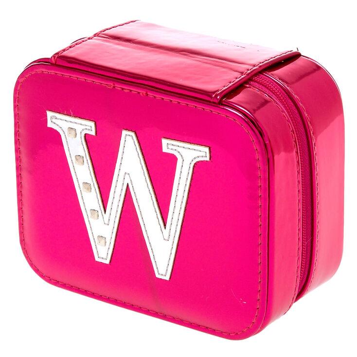 Boîte à bijoux rose métallique initiale «W»,