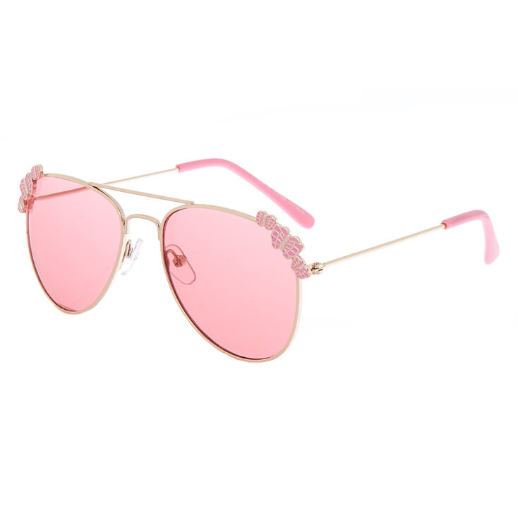 974aee80a Claire's Club Rose Gold Butterfly Aviator Sunglasses - Pink | Claire's