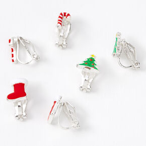 "Silver 1"" Christmas Time Clip On Stud Earrings - 3 Pack,"