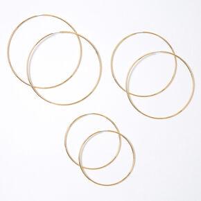 Gold Graduated Hoop Earrings - 60MM, 70MM, 80MM,
