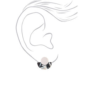 Silver Resin Crescent Stud Earrings - Black,