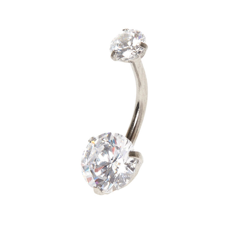 14G Round Cubic Zirconia Belly Ring,