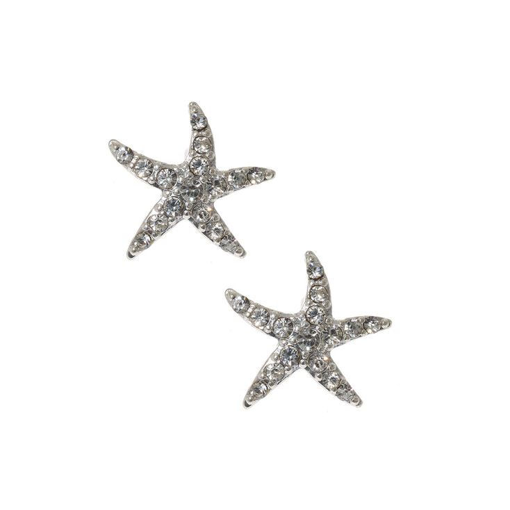 Silver And Crystals Starfish Stud Earrings