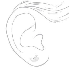 Sterling Silver Whale Stud Earrings,
