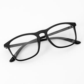 Solid Black Retro Clear Glass Frames,
