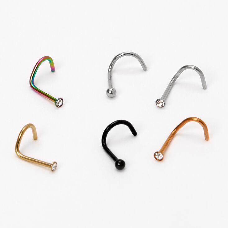 Piercings de nez boules et strass 0,8mm en métaux mixtes - Lot de 6,