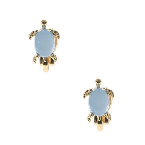 Gold Opal Stone Turtle Clip On Stud Earrings,