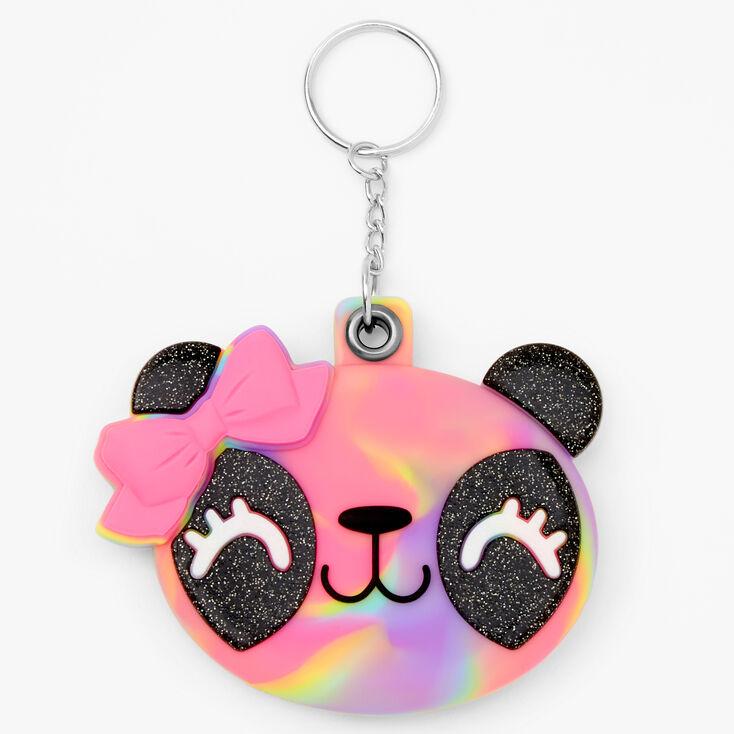 Panda Compact Mirror Keychain - Rainbow,