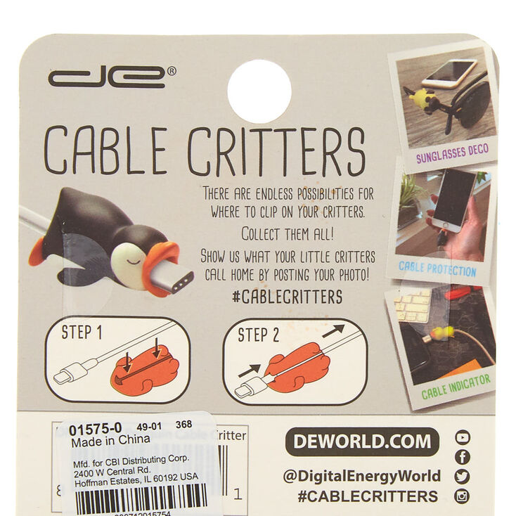 Penguin Cable Critter - Black,