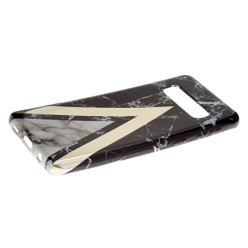 Coque de portable effet marbré géométrique noire - Compatible avec Samsung Galaxy S10