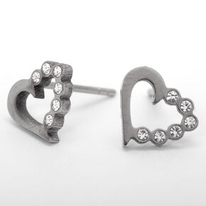 Silver Titanium Embellished Heart Stud Earrings,