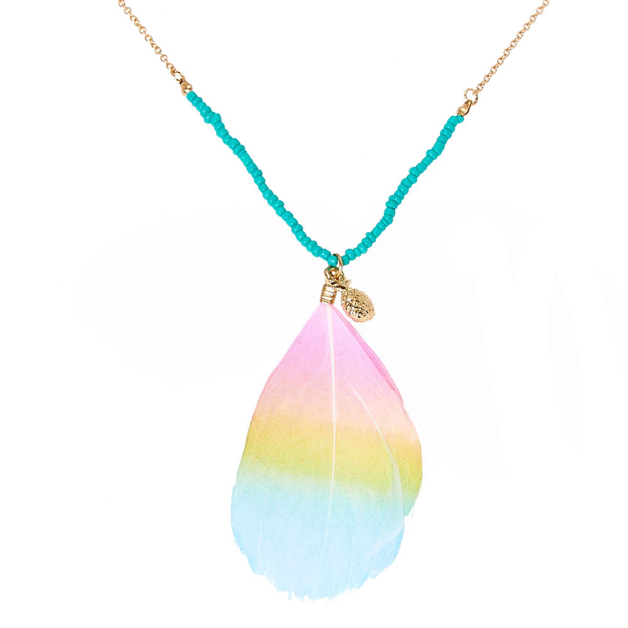 Glittery rainbow feather pendant beaded gold tone necklace claires us glittery rainbow feather pendant beaded gold tone necklace aloadofball Gallery