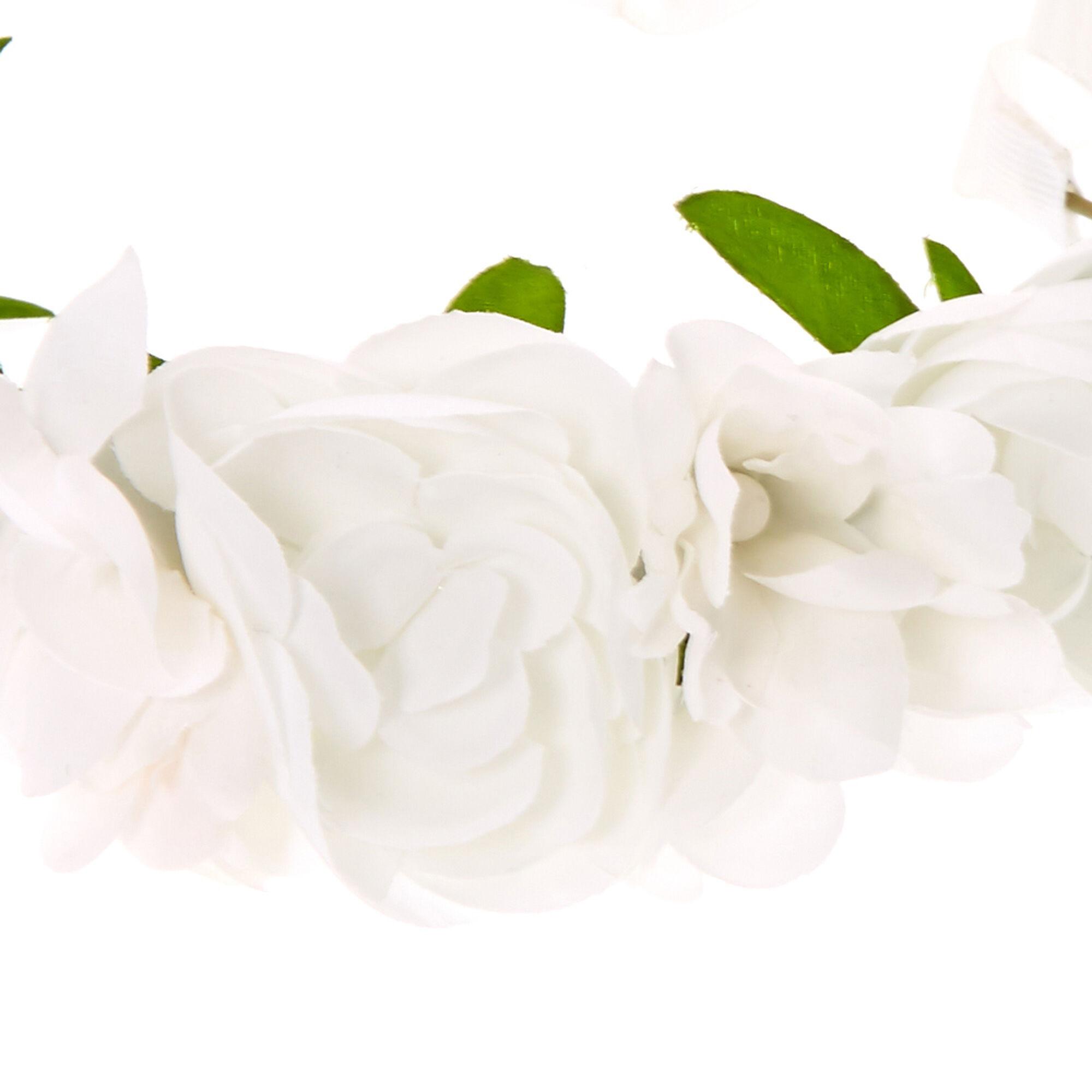 couronne de fleurs pour enfant blanc avec lien en ruban. Black Bedroom Furniture Sets. Home Design Ideas