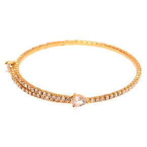 Gold Rhinestone Teardrop Cuff Bracelet,