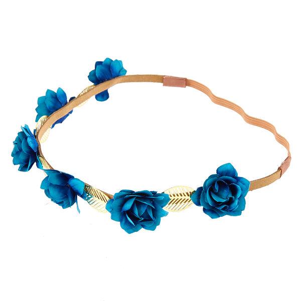 Claire's - indigo roses & leaves headwrap - 1