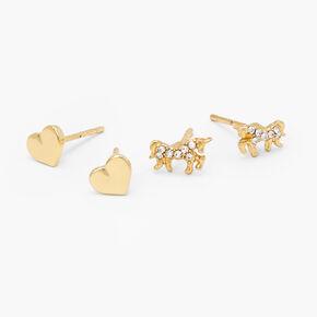 18kt Gold Plated Unicorn Heart Stud Earrings - 2 Pack,