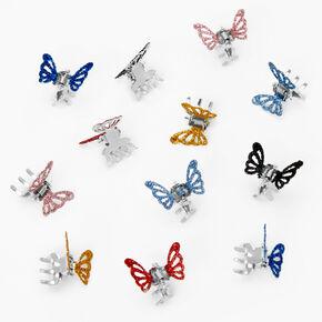 Pinces à cheveux papillon à paillettes - Lot de 12, couleur argentée,