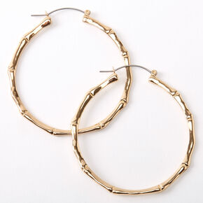 Gold 60MM Thin Bamboo Hoop Earrings,