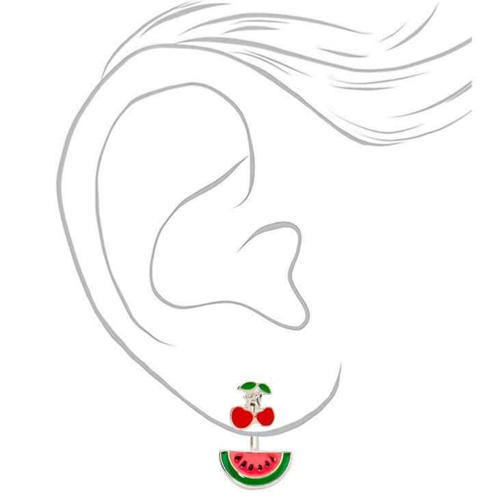 Cherry Watermelon Ear Jacket Earrings,