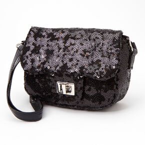 Claire's Club Sequin Crossbody Bag - Black,