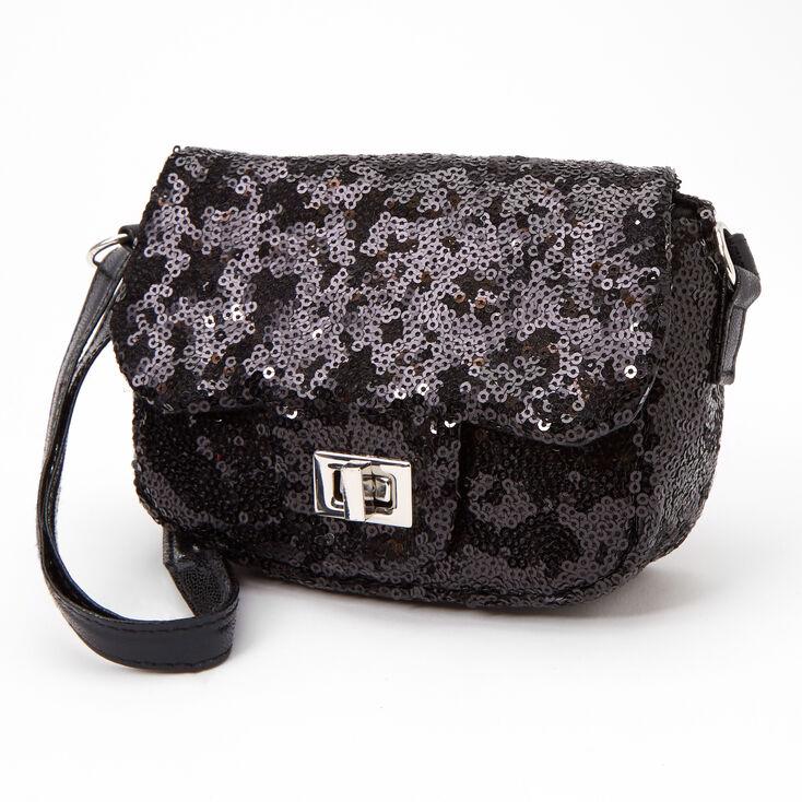 Claire's Club Sequin Crossbody Bag - Black,