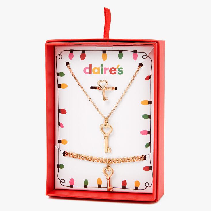 Gold Heart Key Jewellery Gift Set - 3 Pack,