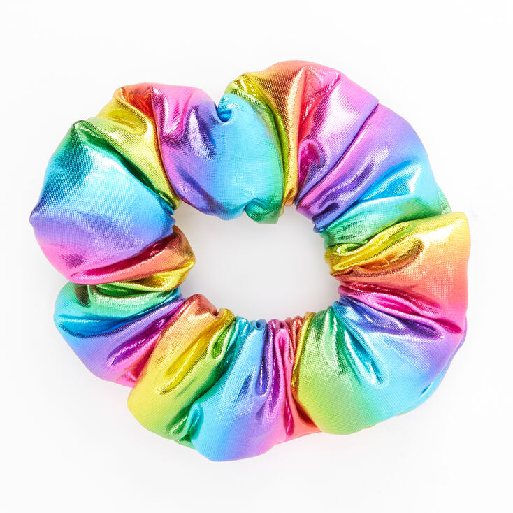 Medium Puffy Metallic Rainbow Hair Scrunchie,