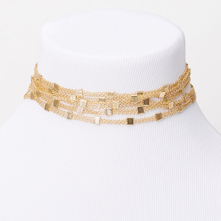 Gold Square Chain Multi Row Choker Necklace,