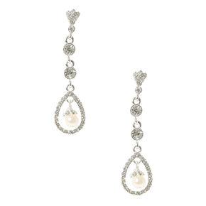 Crystal and Pearl Swing Drop Earrings,