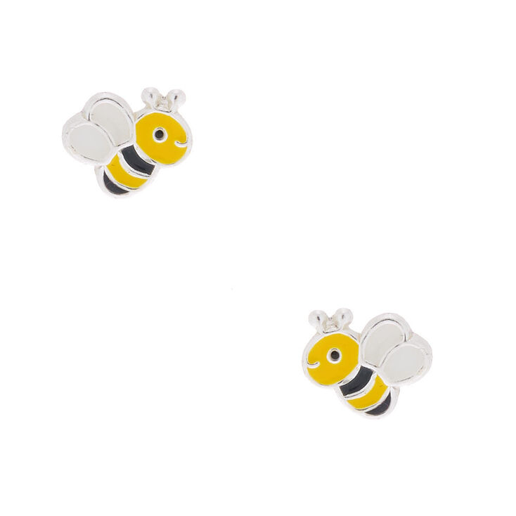 bb842381b Sterling Silver Bee Stud Earrings | Claire's US