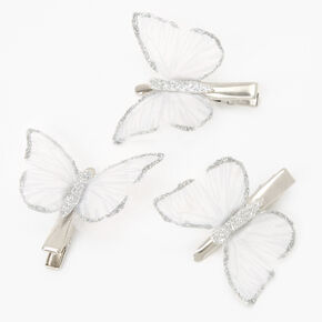 Barrettes papillon à paillettes couleur argentée - Transparent, lot de 3,