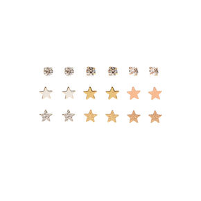 Mixed Metal Sparkle Star Stud Earrings - 9 Pack,