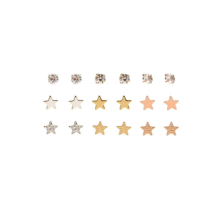 Mixed Metal Sparkle Star Stud Earrings - 9 Pack,