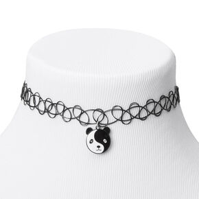 Panda Yin Yang Tattoo Choker Necklace - Black,