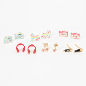 Retro Musical Pastel Stud Earrings - 6 Pack,