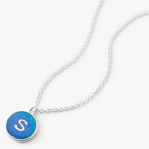 Silver Initial Mood Pendant Necklace - S,