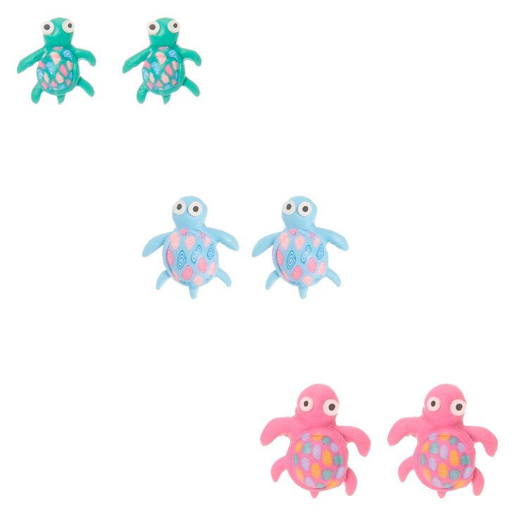 Pastel Turtle Stud Earrings - 3 Pack,