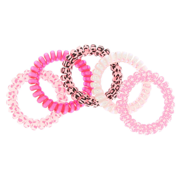 Claire's Club Pretty Pink Coil Bracelets - Pink, 5 Pack,