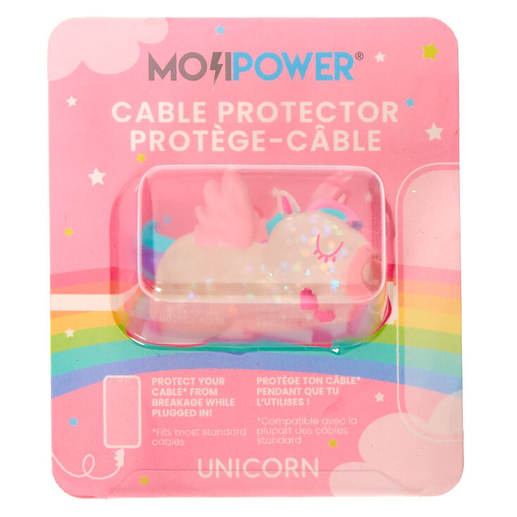 MojiPower® Glitter Unicorn Cable Protector - Clear,